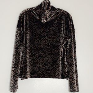 Victoria Secret Sport Velvet Leopard Turtleneck